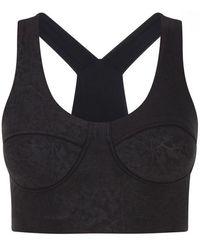 Daquïni Silhouette Faux Leather Sports Bra - Black