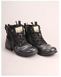 Replay Footwear Clutch Leather Boots Colour: Black