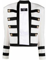 Balmain - Women's Vf17575v089gab White Viscose Blazer - Lyst