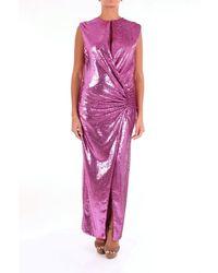 Space Style Concept Dress Long Women Fuchsia - Pink