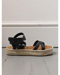 Étoile Isabel Marant Melyz Leather Espadrille Sandals - Black