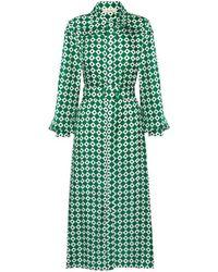 Lisou Alina Green Diamond Print Silk Shirt Dress