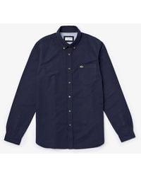Lacoste Long Sleeve Oxford Shirt Ch 4976 Dark Navy - Blue