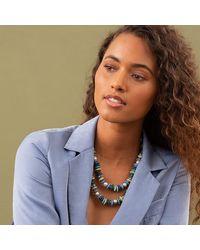 Akola Joceyln Beaded Statement Necklace With Pearl & Glass - Blue