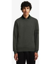 Fred Perry Fred Perry Tipped Sleeve Crew Neck Jumper - Hunting Green