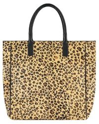 Brix + Bailey Leopard Large Hair On Hide Leather Signature Tote - Multicolour