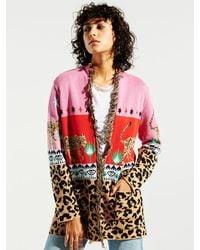 Hayley Menzies Leopardess Short Cardigan - /red - Pink