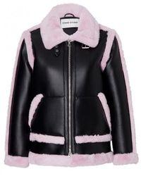 STAND Lindsey Faux Fur-trimmed Vegan Leather Jacket - Black