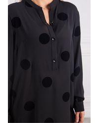 Crea Concept Long Velvet Spot Tunic - Black