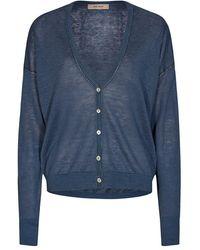 Mos Mosh Lark Linen Knit Cardigan Vintage Indigo - Blue