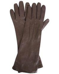 Gala Ladies Leather Mid Length Glove W Silk Lining - Brown