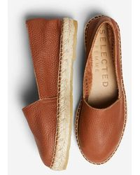 SELECTED Slfmarie Leather Espadrilles - Brown
