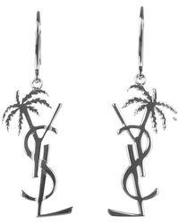 Saint Laurent Palmier Monogram Earrings - Metallic