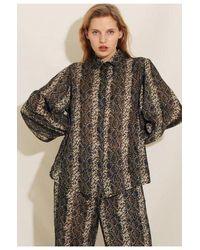 Underprotection Melina Pajama Shirt - Brown