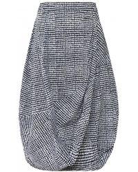 Rundholz Houndstooth Print Tulip Skirt - Black