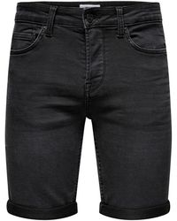 Only & Sons Ply Life Black Denim Shorts