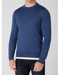 Remus Uomo Dark Crew-neck Sweater - Blue
