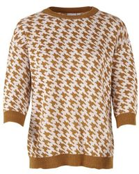 Saint Tropez Dog Tooth Knitted Jumper - Brown