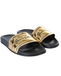 Versace Slide Sandals With Logo - Metallic