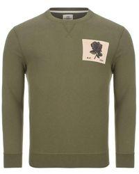 Kent & Curwen 1926 Crew Neck Sweatshirt In Deep Olive Colour: - Green