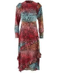 Hayley Menzies Midi Frill Silk Dress - Red
