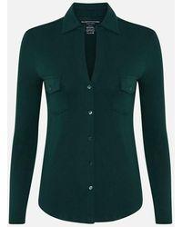 Majestic Filatures Green Button-v Blouse