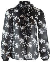 Michael Kors Botanical Ruffle Blouse - Black