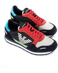 Emporio Armani Runner With Logo - Red