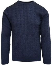 Stenströms Blue Merino Wool Cable Knit Sweater 170