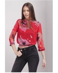 Atterley Religion Center Top In Luscious Print Colour: Red