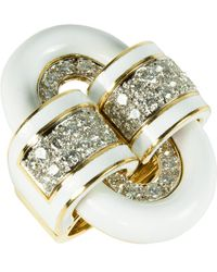 David Webb White Enamel Oval Buckle Ring - Metallic