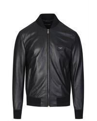 Dolce & Gabbana Leather Plaque Bomber - Black