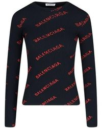 Balenciaga Women's 570844t61401074 Black Polyamide Jumper