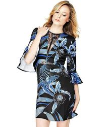 Marciano Blue/ Black Floral Print Dress