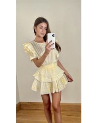 LoveShackFancy Natasha Mini Dress In Lemon Drop Hand Dye - Yellow