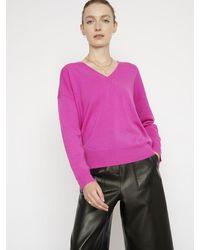 Cocoa Cashmere Essential Cerise V Neck Cashmere Sweater - Pink