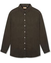 Burrows and Hare Burrows & Hare 's Linen Shirt - Bottle - Green