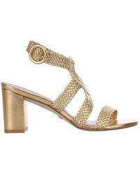 Stuart Weitzman Women's Vicky75wovengold Gold Leather Sandals - Metallic