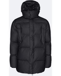 Rains Hooded Puffer Coat - Black