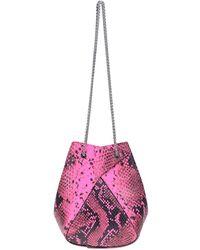 the VOLON Mani Mini Reptile Print Leather Bucket Bag - Pink