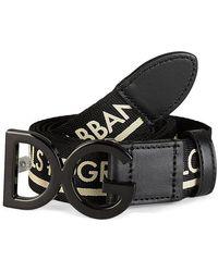 Dolce & Gabbana Dg Logo Black & White Belt - Green
