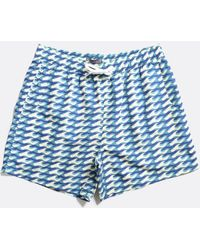 Far Afield Swimshorts Wavista Print Navy - Blue