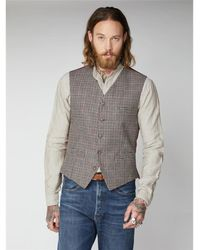 Gibson London Mason Fawn With & Red Check Waistcoat - Multicolour