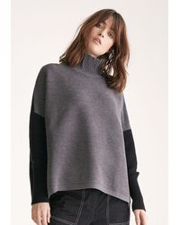 Paisie - Two Tone Ribbed Polo Neck Jumper With Side Splits In Charcoal And Black - Lyst