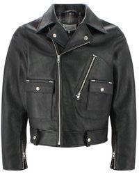 Maison Margiela Cropped Biker Jacket - Black