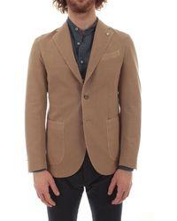 Luigi Bianchi Mantova Men's 28371583804 Beige Cotton Blazer - Brown