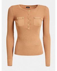 Guess Ribbed Top With Gold Button Detail - Blue