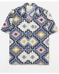 Universal Works Road Shirt In Navy Santa Fe Poplin - Blue