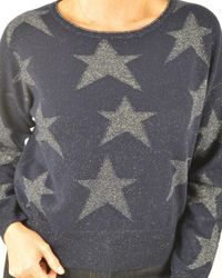 Cocoa Cashmere Lurex Star Crop Cashmere - Blue