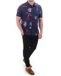 Paul Smith Tailored Fit Ls Shirt With Floral Print - Blue